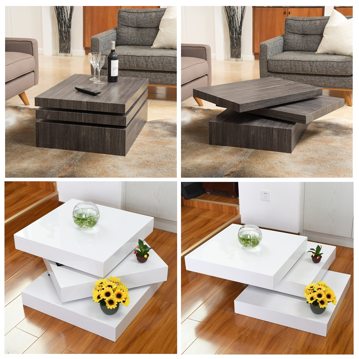 Modern Rotating Coffee Table Sofa Side End Table 3 Layers Square
