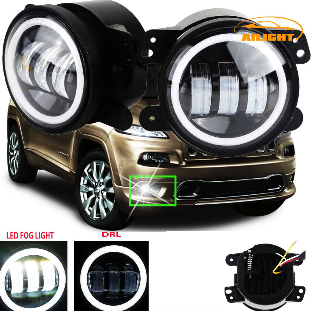 Details About 4 Inch Led Halo Fog Lights Bulb For Jeep Grand Cherokee 2011 2013 Bumper Offroad