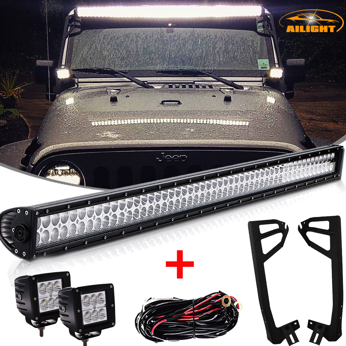 07 18 Jeep Wrangler Jk 52 Inch Led Light Bar Mount Bracket 2x 3 Wiring Harness Lamp Kit