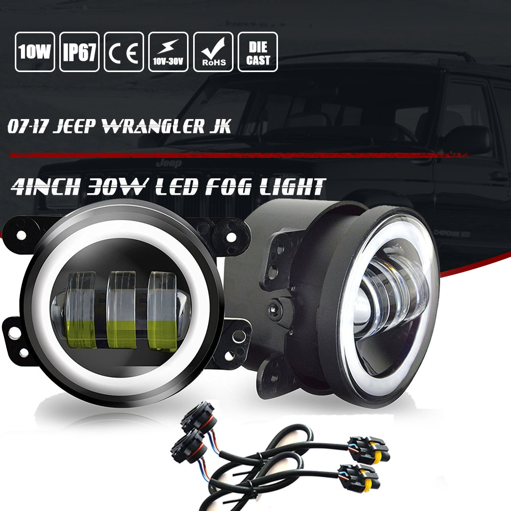 A Pair 4 Halo Led Fog Lights Front Bumper Lamp For 07 17 Jeep Wrangler Cree Jk