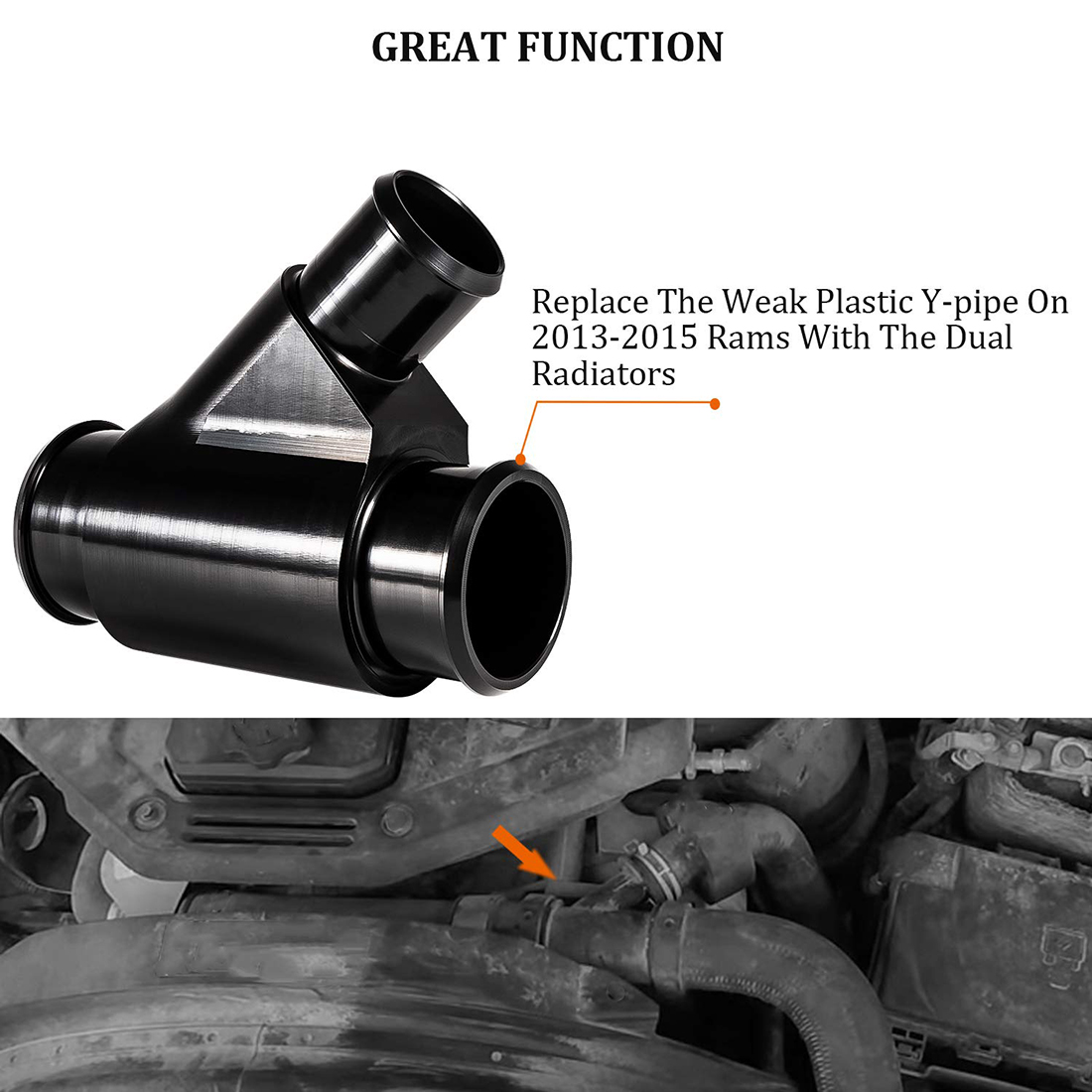Billet Aluminum Weldless Dual Radiator Coolant Y-Pipe for 2013-2020 Dodge Ram 6.7L Cummins Diesel
