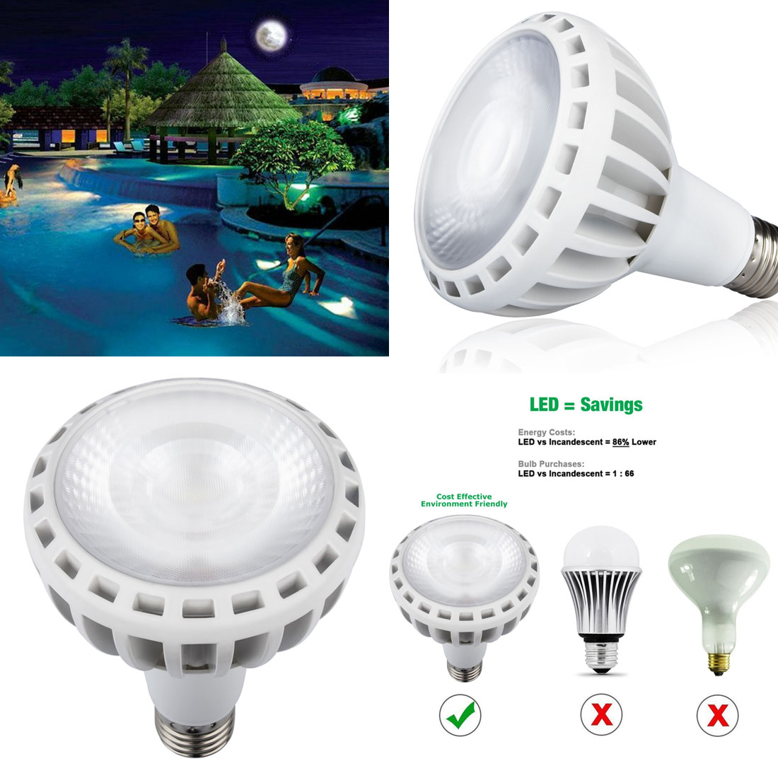 Details about COB Technology 120V 45W Underwater In Ground Spa Swimming  Pool LED Light Bulb #y