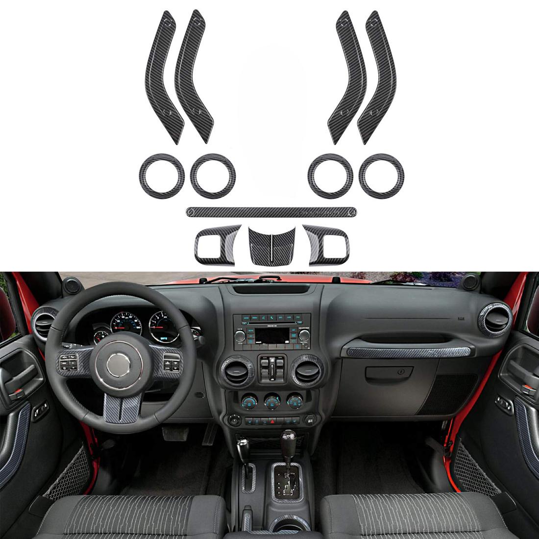 Jeep Wrangler Accessories 2017 >> Details About 12pcs Carbon Fiber Interior Accessory Decoration Cover Trim For Jeep Wrangler Jk
