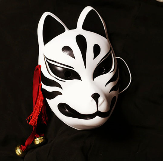 Japanese Fox PVC Black Kitsune Cosplay Masks Hand-Painted