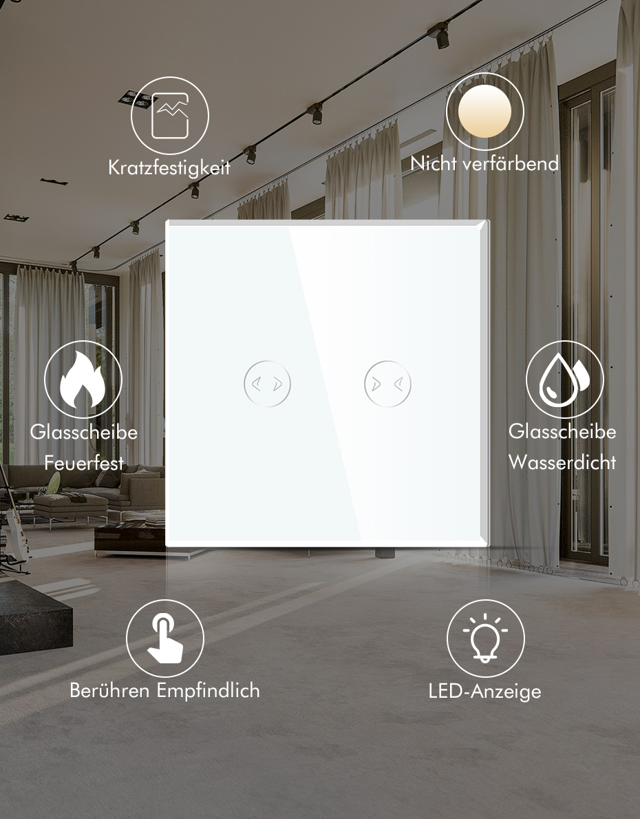 BSEED Touch Screen Rolladenschalter Wandsteckdosen Glas Vorhang Shutterschalter