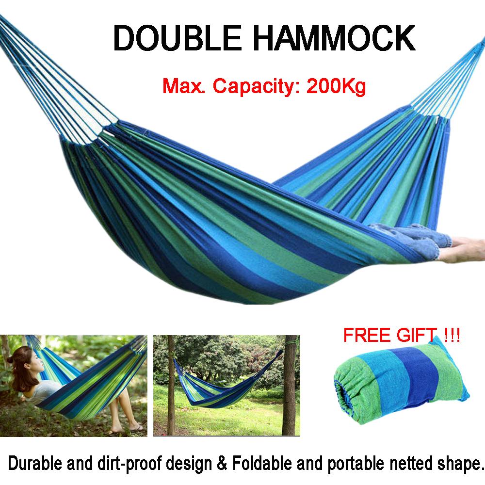 Outdoor Premium Garden Camping Canvas Hammock Lightweight Hang Bed Travel Swing