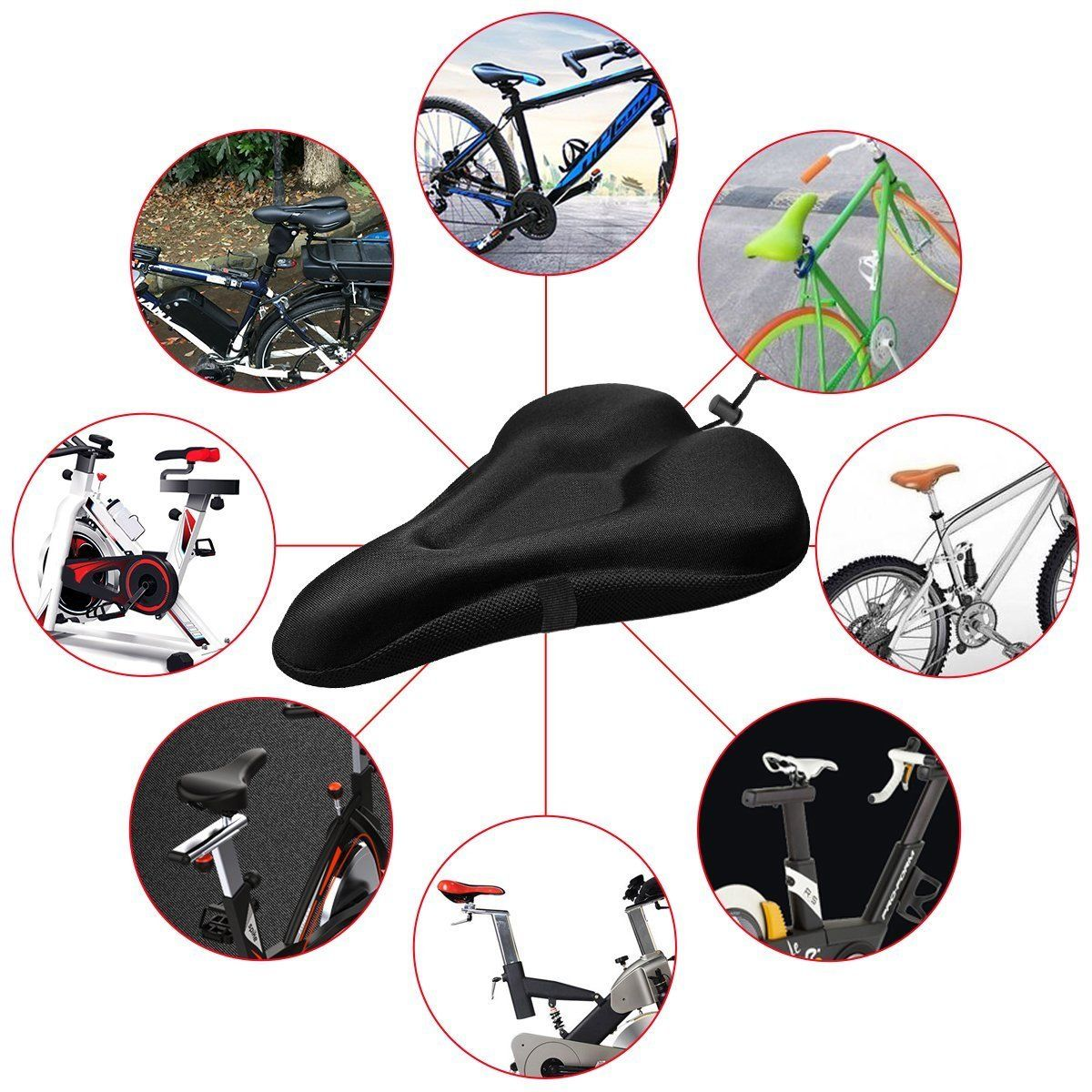 Bike Cycle Bicycle Extra Comfort Gel Pad Cushion Cover For Saddle Seat Comfy Jr