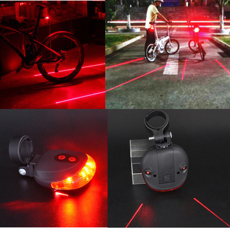 Bike 2Laser+5LED Flashing Lamp Rear Cycling Bicycle Tail Safety Warning Light AA