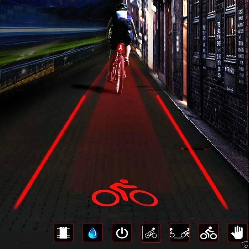 NEW 5 Red LED 2 Laser Bicycle Bike Rear Tail Light Flashing Safety Warning Lamp