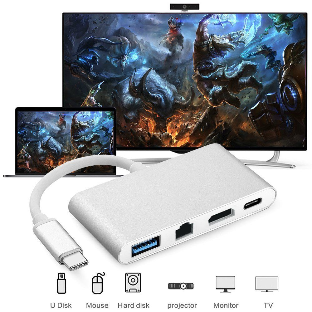 RJ45 Port +USB 3.0 USB 3.1 Type C Adapter 4IN1 USB C to HDMI 4K+Gigabit Ethernet