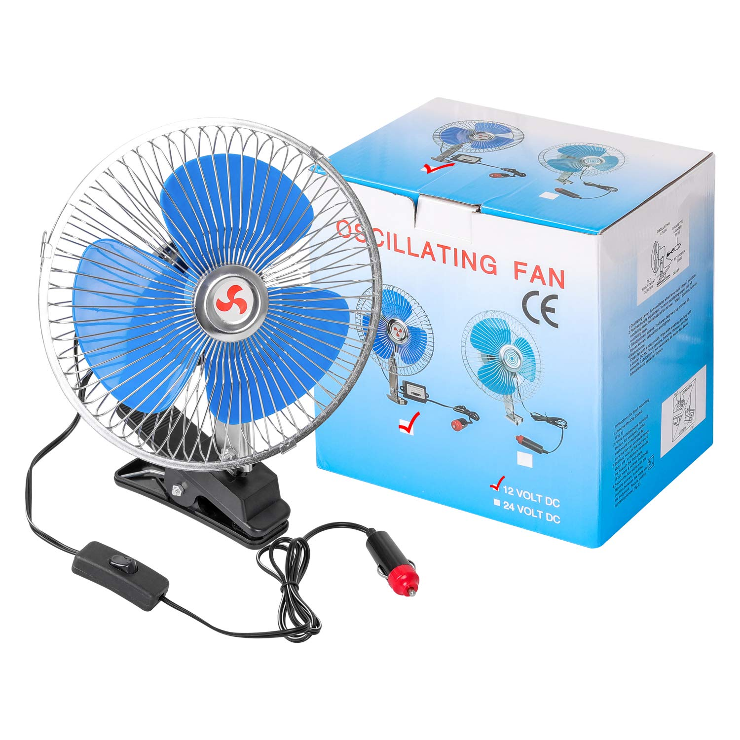 8/'/' 12V Cooling Oscillating Car Fan Auto Clip-On Vehicle Dash Dashboard Portable