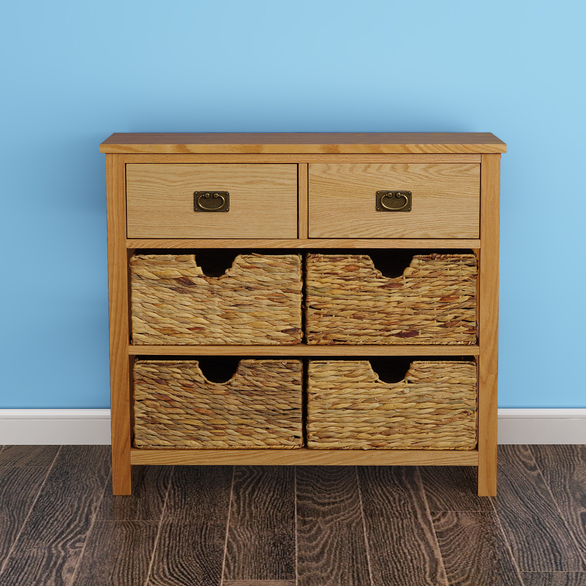Oak Sideboard Cabinet Chest Drawers Cupboards Storage Baskets
