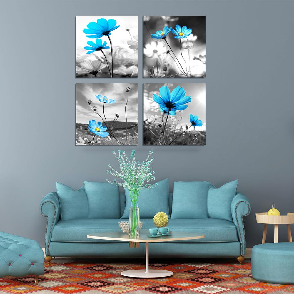 Unframed 4PCS Modern Abstract Flowers Canvas Print Painting Home Wall Decor Art