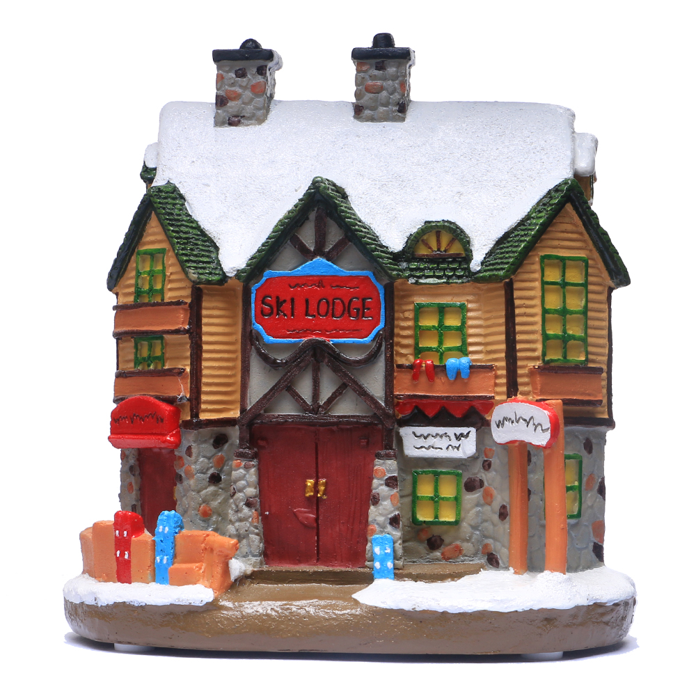 Christmas Village Houses.Details About Christmas Village House Christmas Winter Ski Lodge Ornament Lit House Scene