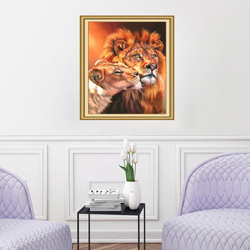 Frameless Hand Painted Lion Cat Animal Oil Painting