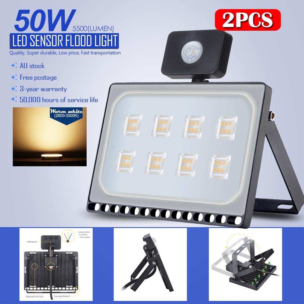 Led Flood Light Keeps Flickering: 2Pcs 50W Sensor LED SMD Flood Light Warm White Outdoor
