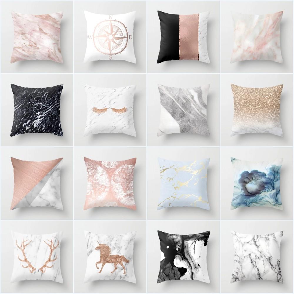 Fashion Marble Pattern 18 Inch Cushion Cover Pillowcase