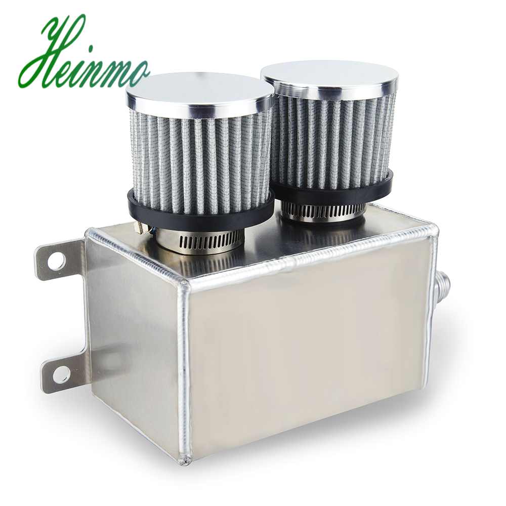 Aluminum Alloy 1.2L 8AN AN8 Twin Filter Dual Baffle Engine Oil Catch Can Silver