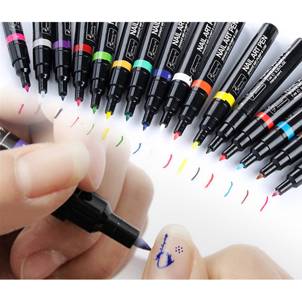 16 Colors Nail Art Pen Painting Design Tool Drawing for UV Gel ...