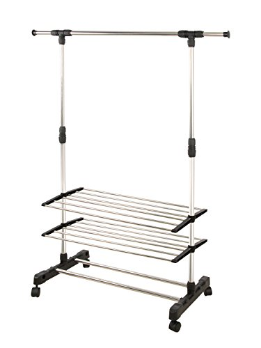 Portable And Expandable Garment Rack In Black Chrome 18 Months Stunning Clothes Garment Rack On Wheels Metal Portable Modern Storage