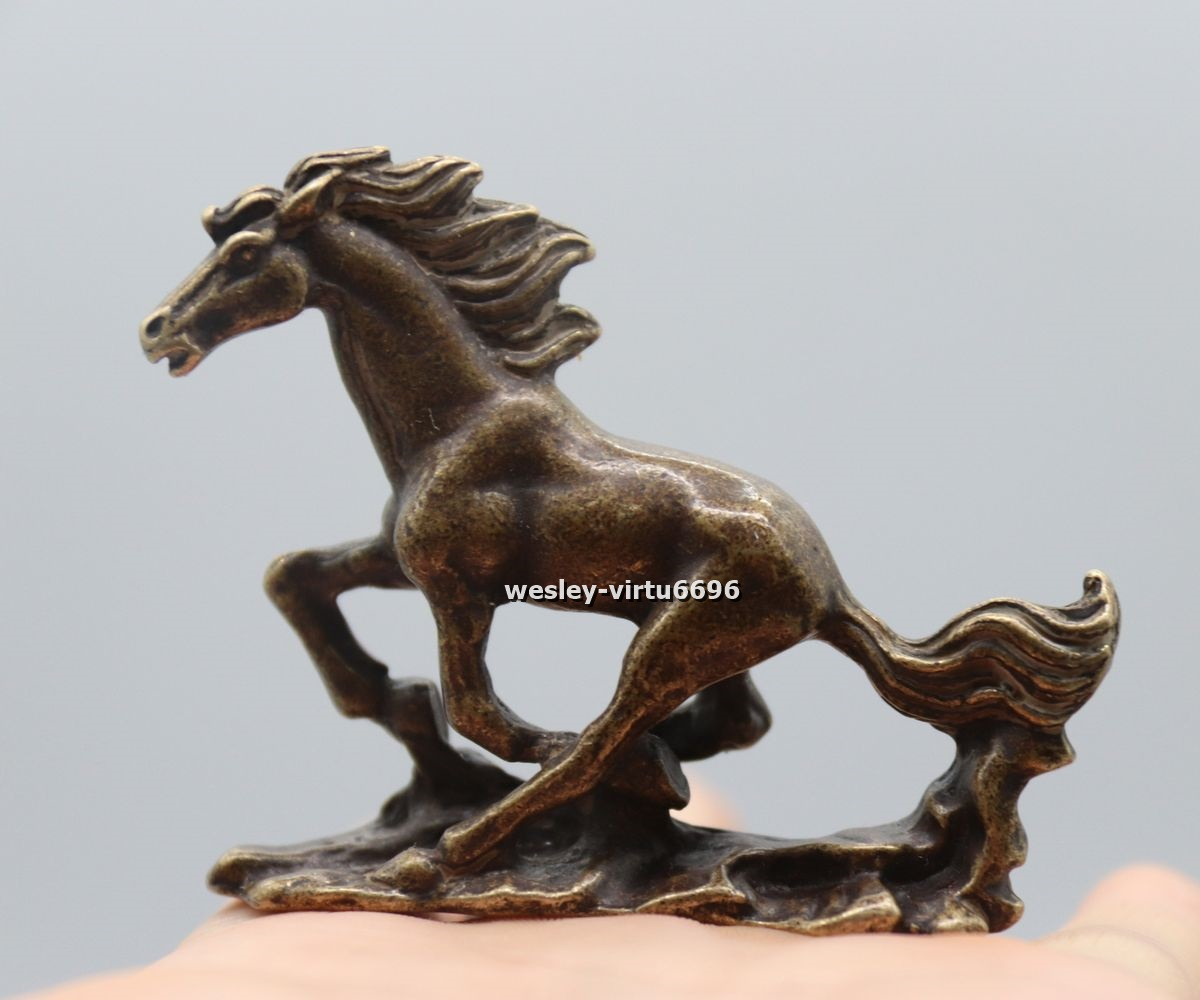7 cm China Pure Bronze Copper Feng Shui Lucky Wealth Running Horse Steed Statue