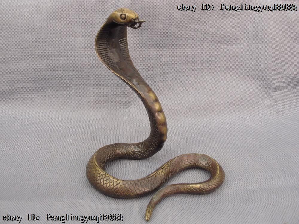 Bronze Lucky Chinese One Of The Zodiac Signs Animal Snake Wealth Statue M267