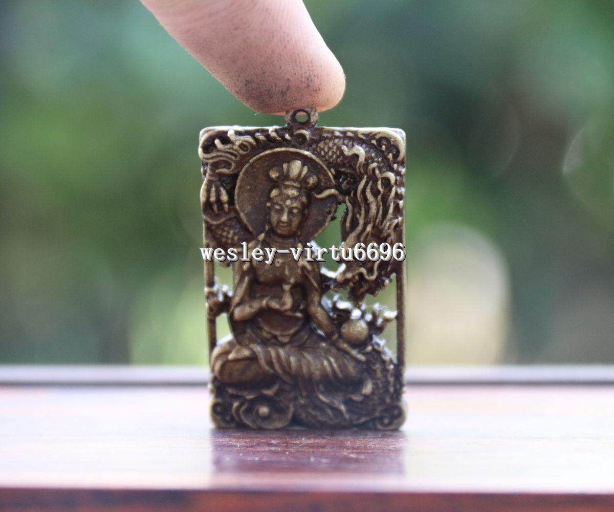China Copper Bronze Dragon Kwan-yin Guanyin Bodhisattva Buddha Pendant T111