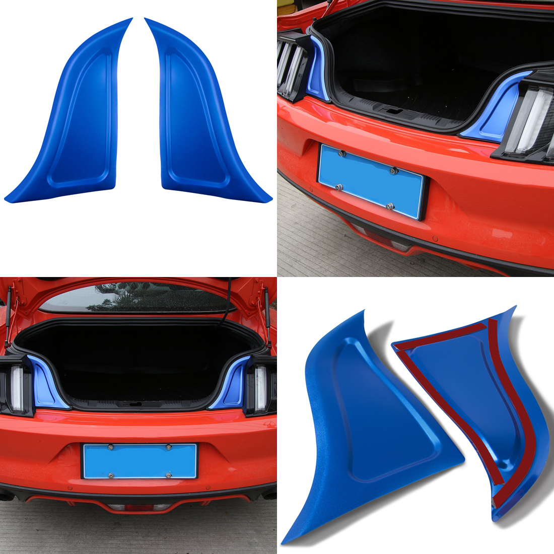 Car Rear Trunk Panel Plate Trim Tail Gate Door Lid Insert Cover For Ford Mustang