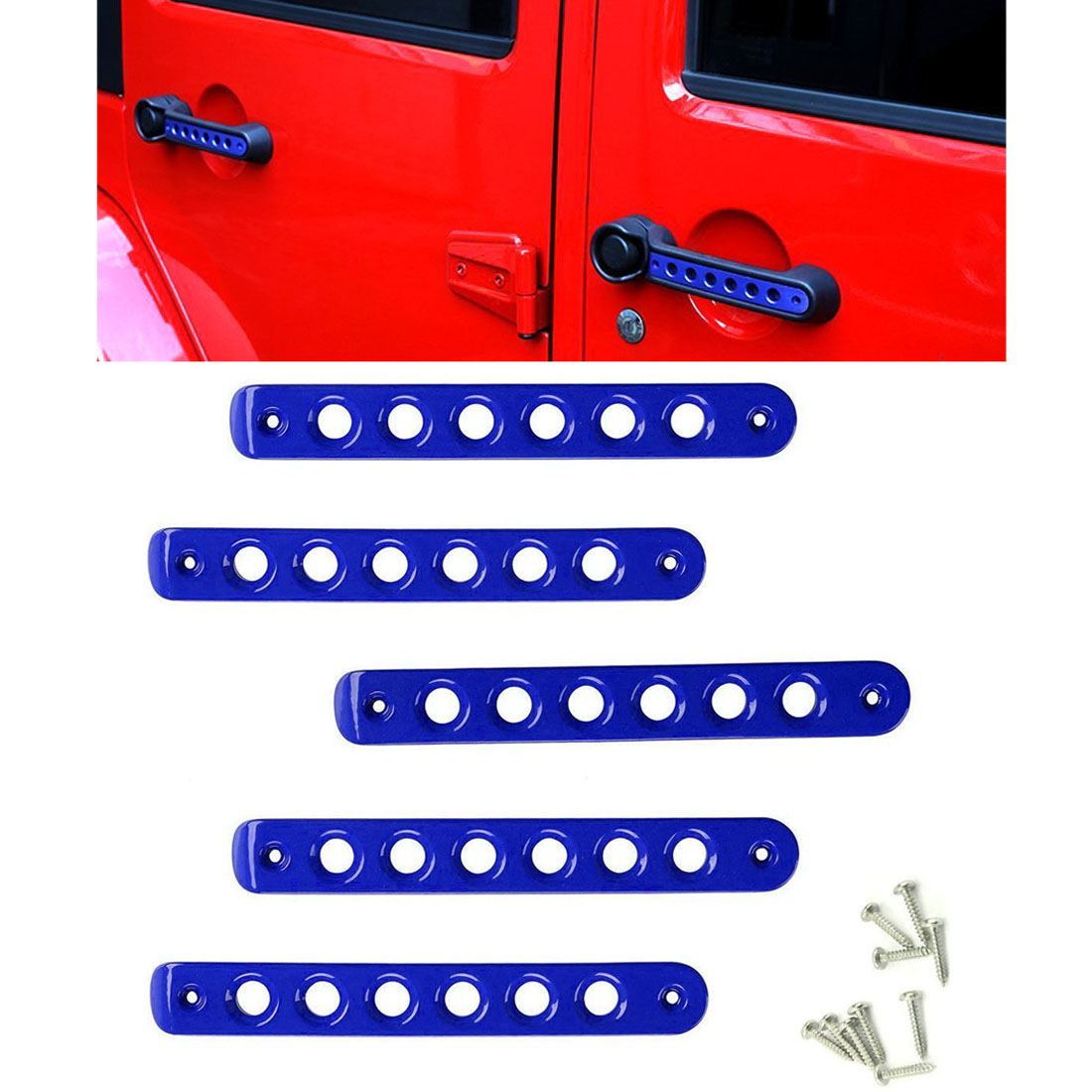Jeep Grab Handle Inserts Cover 5 Pcs Aluminum Front /& Rear Door Red Handle Decoration Trim for 2007-2016 4 Door Jeep Wrangler JK /& Unlimited