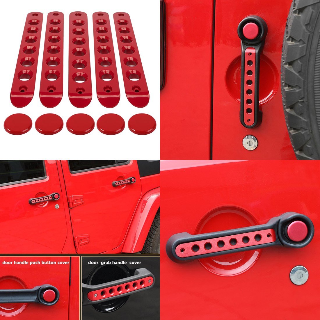 Exterior Door Grab Handle Inserts Cover Painted Trim For 2007-2018 Jeep Wrangler