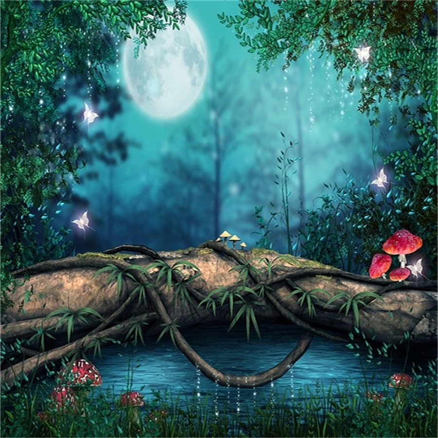 6x6ft Fantasy Forest Night Background Fairy Tale Mood
