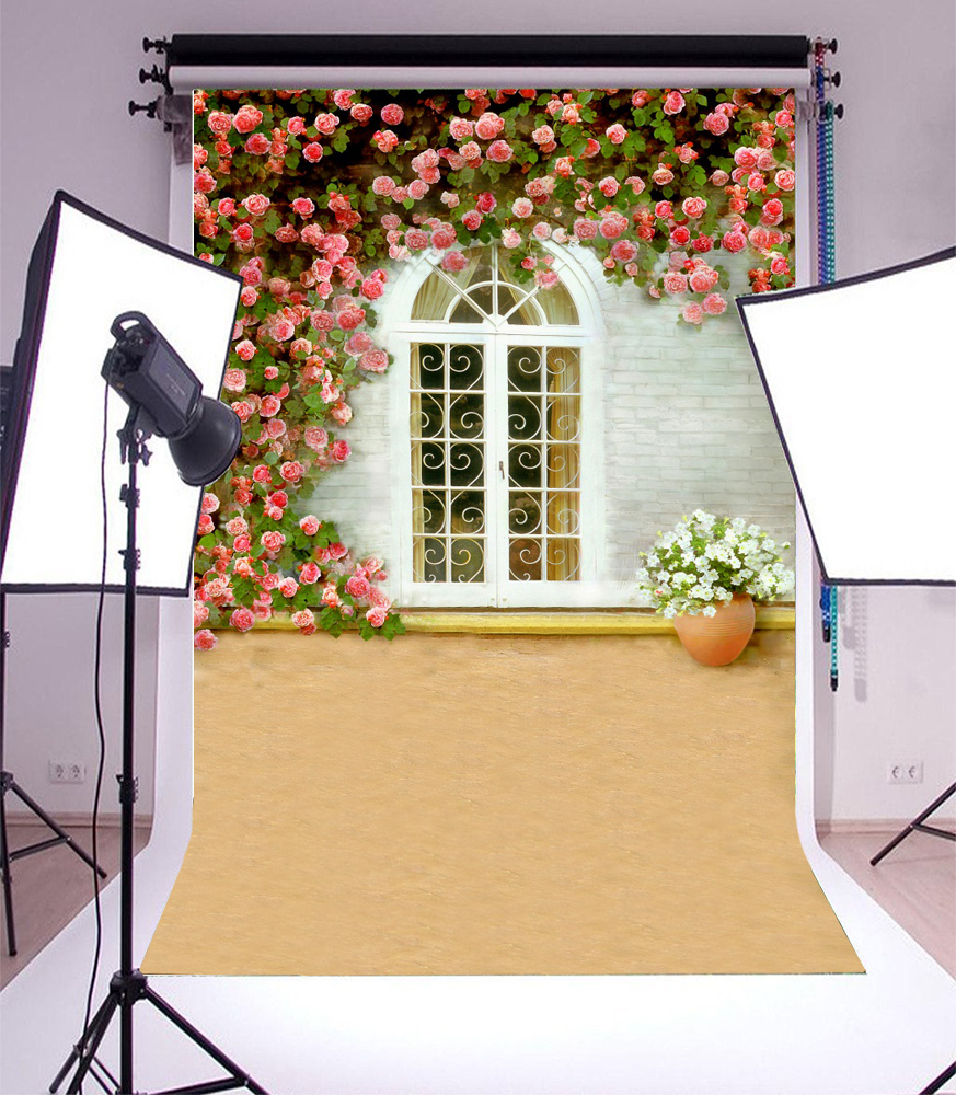 Studio Prop Backdrop Arched Carved Windows Brick Wall Flowers 3x5ft ...
