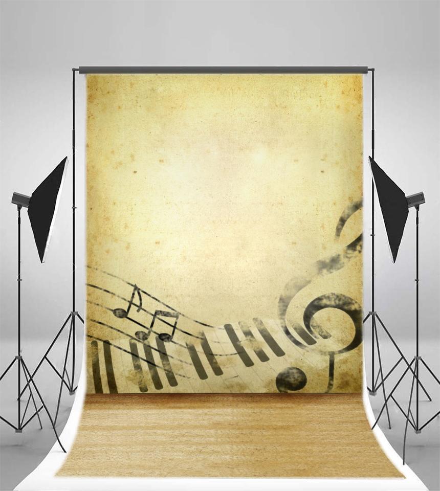 5x7FT Musical Note Vinyl Retro Wall Prop Studio Backdrop Background ...