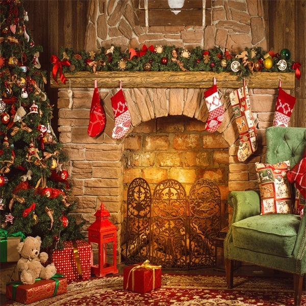 Details About Christmas Room With Fireplace Backdrop Prop Vinyl Background Studio 10x10ft