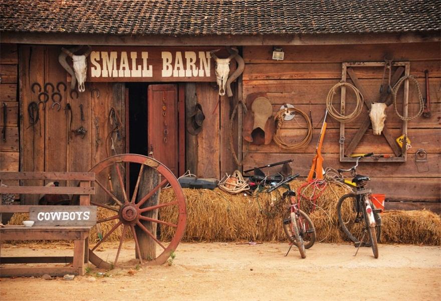 7x5ft Photography Prop Cowboys Backdrop Barn Rural Scene