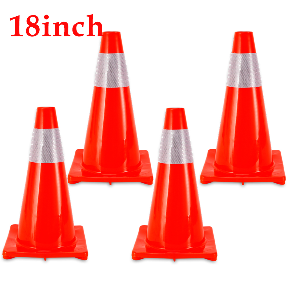 Details about 4Pcs 450mm Road Traffic Cones Emergency Safety Cone Barrier  Sign Parking lots