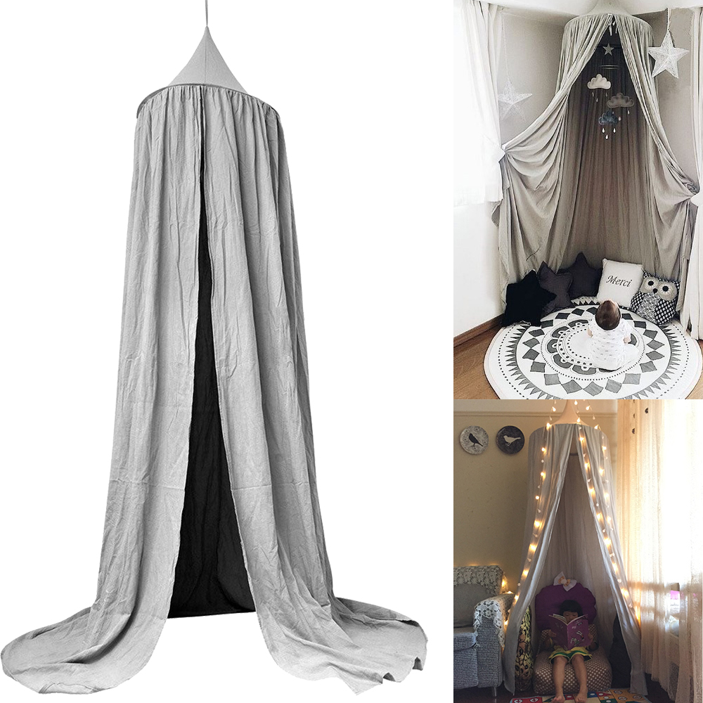 Grey Canopy Bed Netting Mosquito Cotton Bedding Net Baby Kids Reading Play Tents