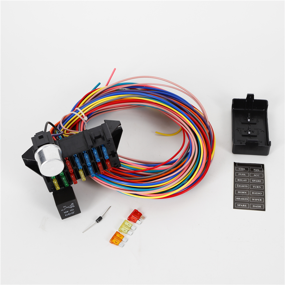 14 Circuit Universal Complete Wiring Harness Kit Plastic