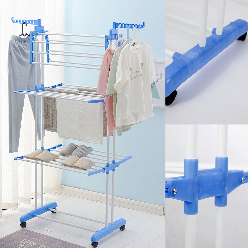Details About 3 Tier Fold Drying Heavy Duty Clothes Rack Laundry Dryer Hanger Stand Organizer
