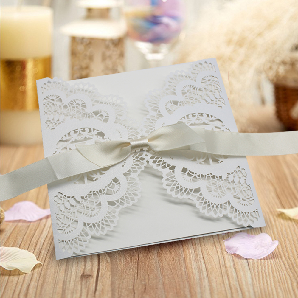 50Pcs White Lace Laser Cut Wedding Invitation Pocket Party Invites ...
