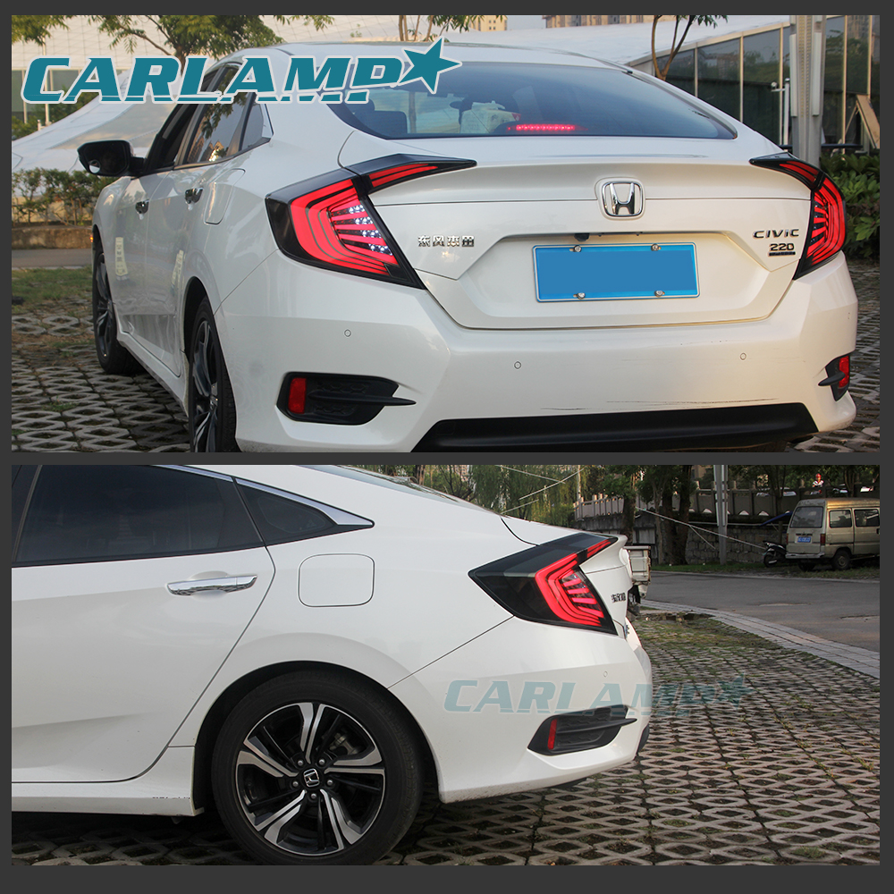 Led Smoked Tinted Tail Lights For Honda Civic 10th Gen 4dr