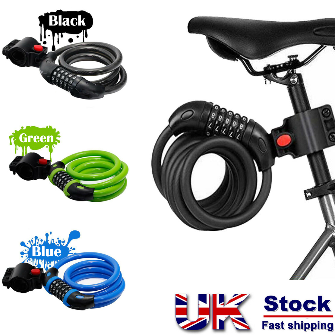 Combination Bike Lock Strong Heavy Duty Cycle Security Bicycle Locks H9C8