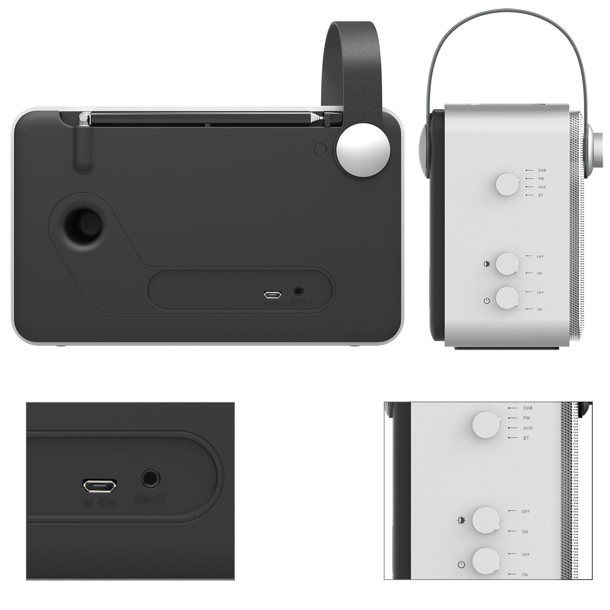 1byone bluetooth digital radio tragbar dab fm ukw empfang wecker mit akku ebay. Black Bedroom Furniture Sets. Home Design Ideas