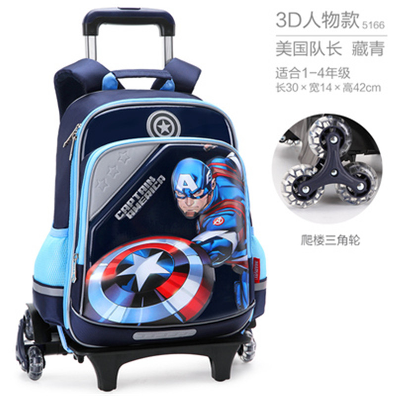 Details About Spider Man Iron Kids Trolley Bag Wheels Backpack Rolling School Book