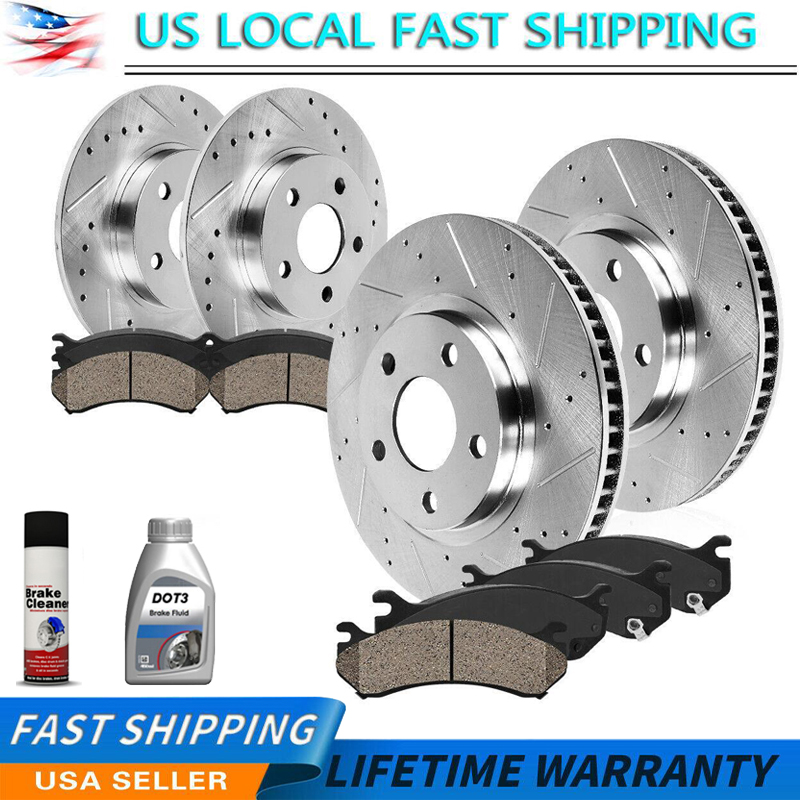 Front Discs Brake Rotors and Ceramic Pads For Jeep Liberty 2002-2007 Drill Slot