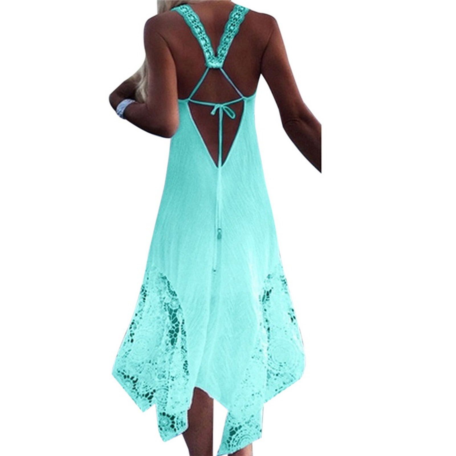 Plus Size Womens Sleeveless V Neck Loose Beach Party Evening Long ...