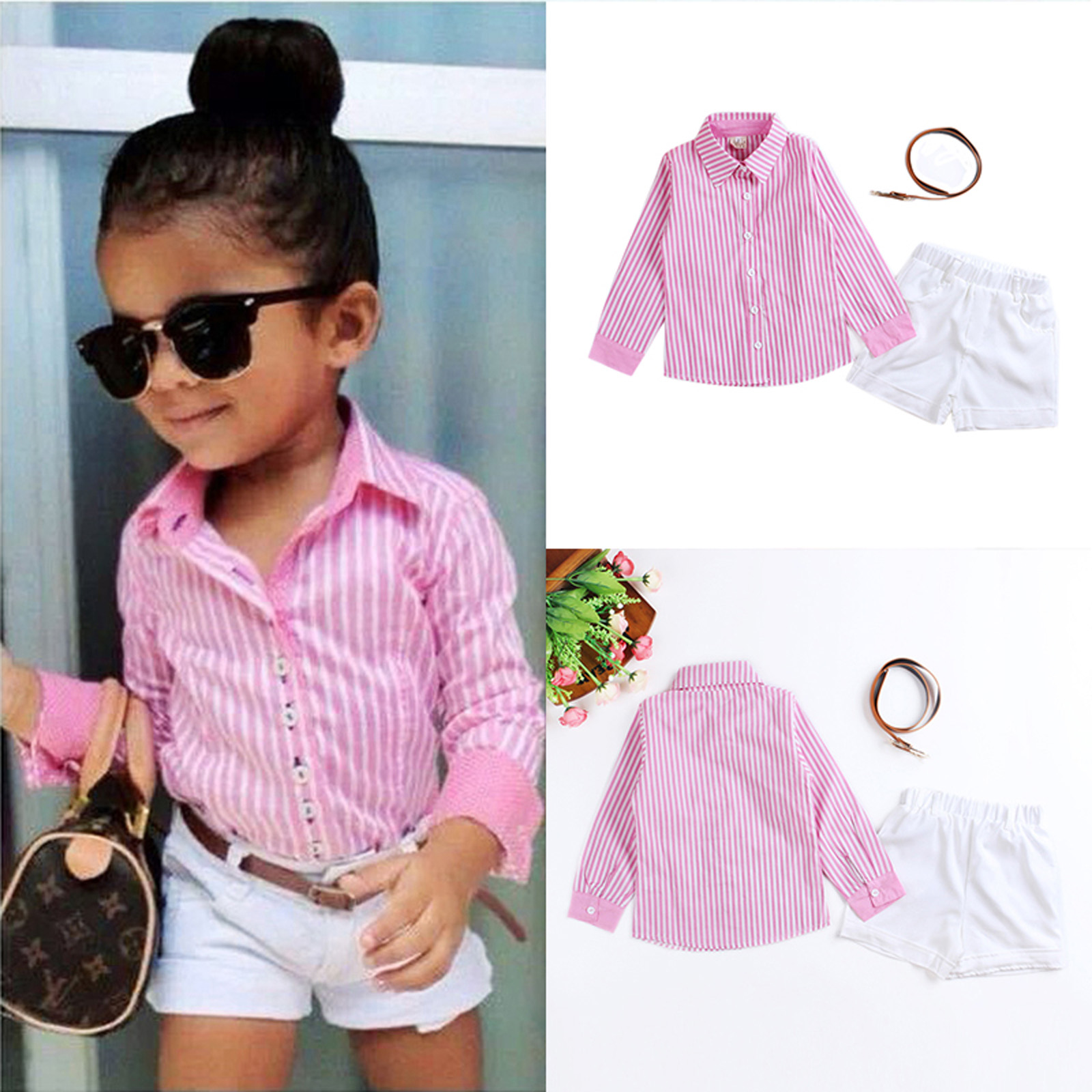 3Pcs Baby Girls Pink Shirt White Pants Belt Set Kids Summer