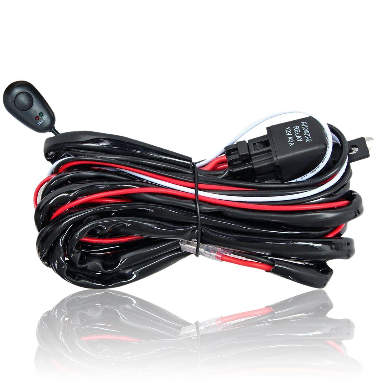 Universal Led Light Bar Wiring Harness Kit 12v 40amp Relay On Off