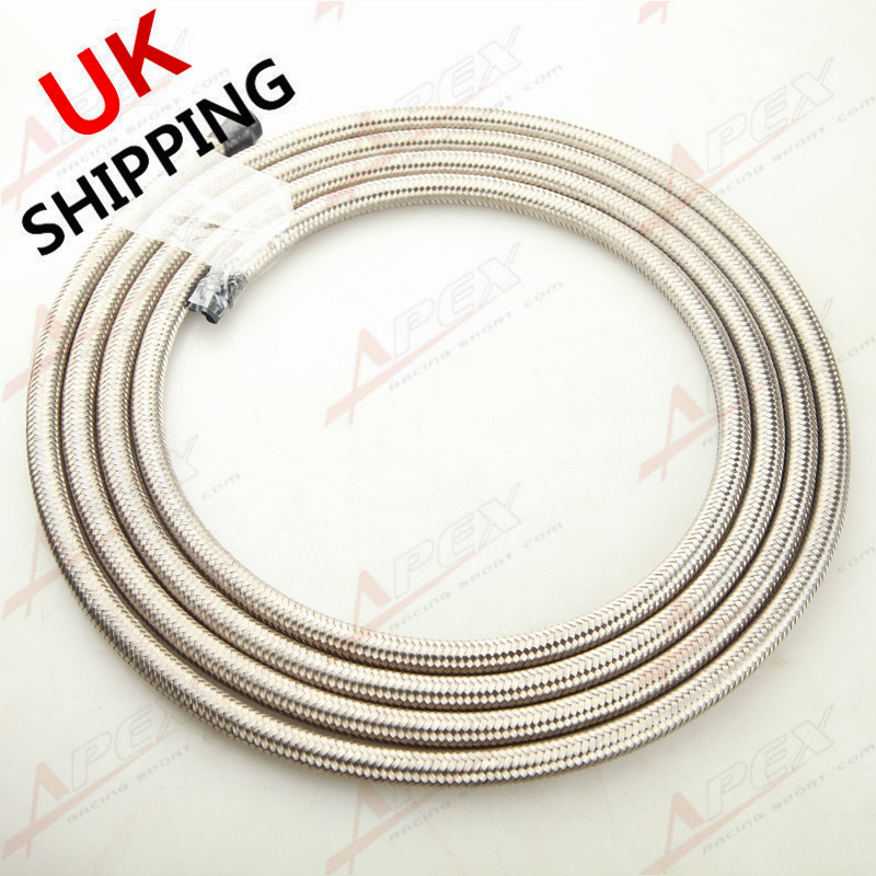 9.8FT Stainless Steel Double Braide AN6 AN-6 AN 6 Fuel Line Gas Oil Hose 3M UK
