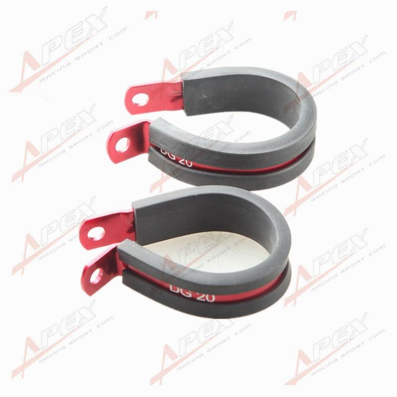 2PCS Aluminum Rubber Cushioned Clamp ID 4.8mm Racing Vacuum Hose Red